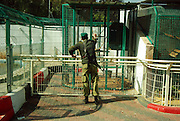 Palestinian Soldier at the zoo. Qalqilya Zoo is a small 2-hectare (4.9 acres) zoo in the Palestinian city of Qalqilya on the western edge of the West Bank.Established in 1986, it is the only municipal zoo in the Palestinian territories. The zoo houses 170 animals, a Natural History Museum, a children's entertainment park, and an on-site restaurant.