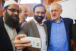 © Licensed to London News Pictures. 05/02/2017. London, UK. Labour leader JEREMY CORBYN poses for a selfie with members of Finsbury Park Mosque in North London during his visit to the mosque on an open day. On Visit My Mosque Day over 150 mosques around the UK open their doors to the public, offering a better understanding of religion in effort to counter rising Islamophobia.  Photo credit: Tolga Akmen/LNP