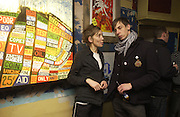 Bridget Hugo and James Firman. Opening of  Santa's Ghetto. Mixed art exhibition.  9 Berwick St. Soho, London. 30  November 2005. ONE TIME USE ONLY - DO NOT ARCHIVE  © Copyright Photograph by Dafydd Jones 66 Stockwell Park Rd. London SW9 0DA Tel 020 7733 0108 www.dafjones.com