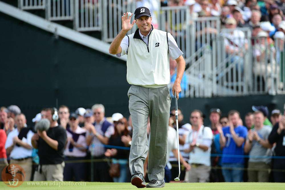 July 21, 2012; St. Annes, ENGLAND; Matt Kuchar acknowledges the crowd after making his putt on the 4th hole during the third round of the 2012 British Open Championship at Royal Lytham & St. Annes Golf Club.
