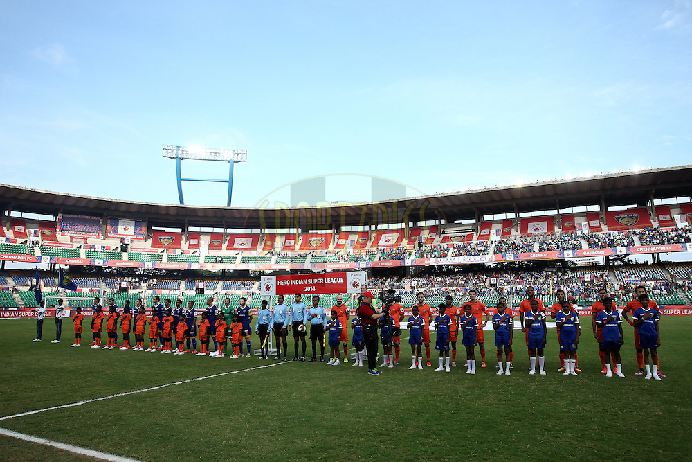 The Teams Sing the National Anthem during match 53 of the Hero Indian Super League between Chennaiyin FC and Delhi Dynamos held at the Jawaharlal Nehru Stadium, Chennai, India on the 9th December 2014.<br /> <br /> Photo by:  Shaun Roy/ ISL/ SPORTZPICS