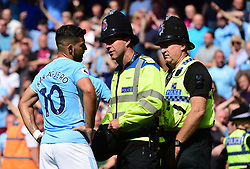 police man talks with Sergio Aguero of Manchester City - Mandatory by-line: Alex James/JMP - 26/08/2017 - FOOTBALL - Vitality Stadium - Bournemouth, England - Bournemouth v Manchester City - Premier League