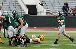 18 October 2014:  Donovan Laible steps up to pass during an NCAA division 3 football game between the Augustana Vikings and the Illinois Wesleyan Titans in Tucci Stadium on Wilder Field, Bloomington IL