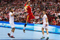 09.04.2016, Ergo Arena, Gdansk, POL, IHF Herren, Olympia Qualifikation, Mazedonien vs Tunesien, im Bild Oussama Hosni, Kiril Lazarov, Aymen Hamed // during the IHF men's Olympic Games handball qualifier between Macedonia and Tunisia at the Ergo Arena in Gdansk, Poland on 2016/04/09. EXPA Pictures © 2016, PhotoCredit: EXPA/ Newspix/ Tomasz Zasinski<br /> <br /> *****ATTENTION - for AUT, SLO, CRO, SRB, BIH, MAZ, TUR, SUI, SWE only*****