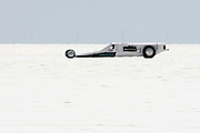 """Best-cars-people-atmosphere-photos of 2009 Bonneville Speed Week- Don Wheeler, owner and driver of the """"Salt Lick"""" Lakester from  Parker, Colorado, makes a run at the Bonneville Speed Way. August 9, 2009.  Photo by Colin E. Braley"""