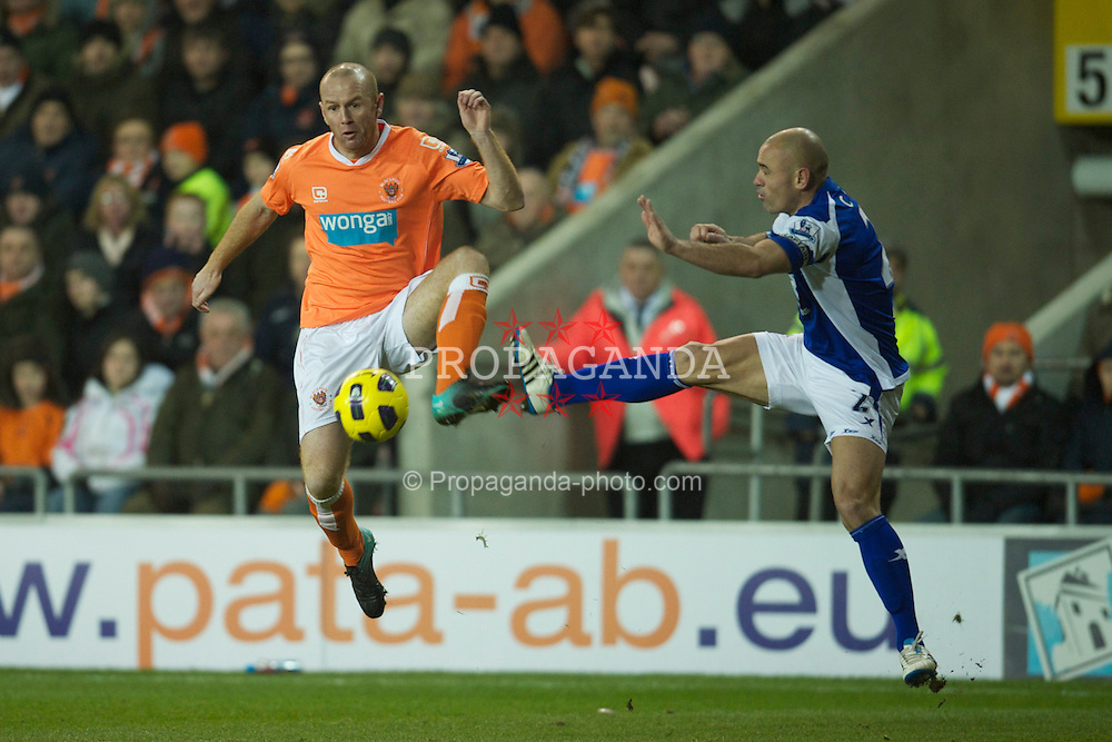BLACKPOOL, ENGLAND - Tuesday, January 4, 2011: Blackpool's Stephen Crainey and Birmingham City's captain Stephen Carr during the Premiership match at Bloomfield Road. (Pic by: David Rawcliffe/Propaganda)