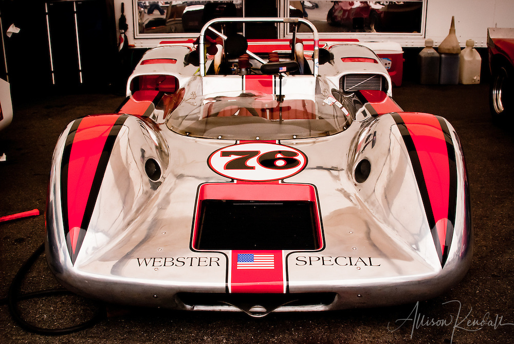 Webster Special, red and silver racecar, Laguna Seca during the Reunion events of Monterey Car Week