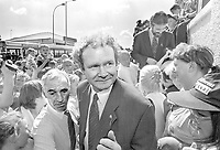 "IRA leader Martin McGuinness , centre, after 31st August 1994 announcement of a Provisional IRA  ""complete cessation of violence"", ending 25 years of hostilities. Beside him is Roy McShane, jacketless with tie, who was later to be revealed as an informer working for British intelligence.  McShane was for a period a driver for Sinn Fein president, Gerry Adams, who is pictured top right of the picture looking downwards. 199408312715<br />