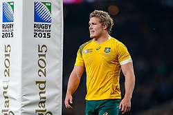 Australia Flanker Michael Hooper looks dejected after New Zealand Inside Centre Ma'a Nonu (not pictured) scores a try - Mandatory byline: Rogan Thomson/JMP - 07966 386802 - 31/10/2015 - RUGBY UNION - Twickenham Stadium - London, England - New Zealand v Australia - Rugby World Cup 2015 FINAL.