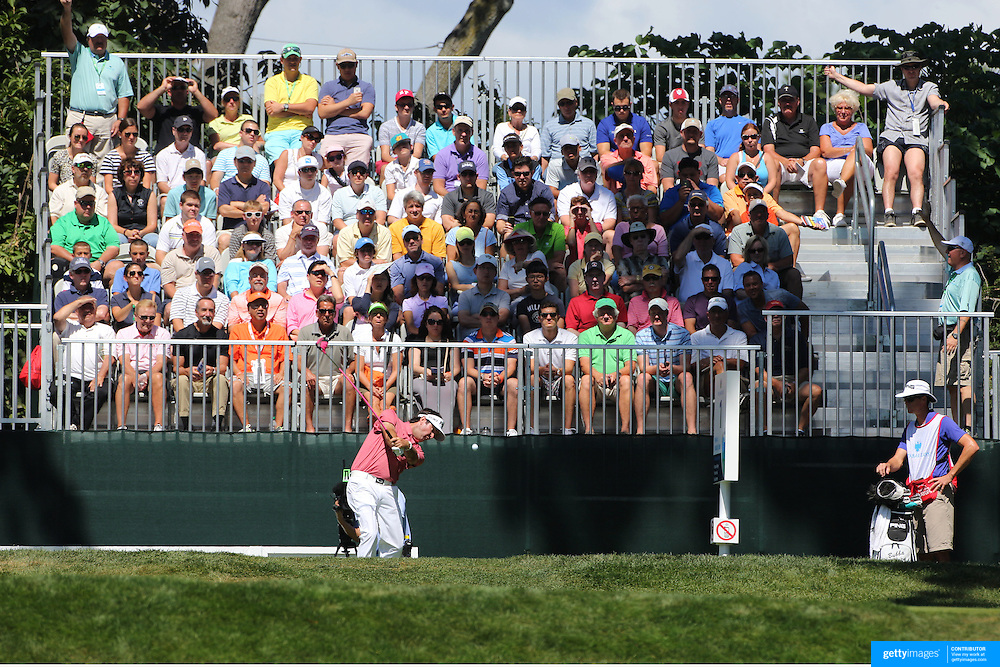 Bubba Watson tees off from the first hole during the fourth round of theThe Barclays Golf Tournament at The Ridgewood Country Club, Paramus, New Jersey, USA. 24th August 2014. Photo Tim Clayton