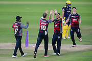 Max Waller and Lewis Gregory of Somerset celebrate the wicket of Gareth Berg of Hampshire during the Royal London One Day Cup match between Hampshire County Cricket Club and Somerset County Cricket Club at the Ageas Bowl, Southampton, United Kingdom on 2 August 2016. Photo by David Vokes.