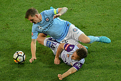 November 24, 2017 - Melbourne, Victoria, Australia - CHRIS HAROLD (14) of the Glory and MICHAEL JAKOBSEN (22) of Melbourne City fight for the ball in the round eight match of the A-League between Melbourne City and Perth Glory at AAMI Park, Melbourne, Australia. Perth won 3-1 (Credit Image: © Sydney Low via ZUMA Wire)