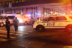 Sept. 17, 2016 - New, York, New York, U.S. - Policemen near the site of an explosion in New York. A total of 25 people have been injured in an explosion in the Chelsea neighborhood of Manhattan on Saturday evening, and the cause of the blast is under investigation, the New York City Fire Department said. (Credit Image: © Li Muzi/Xinhua via ZUMA Wire)