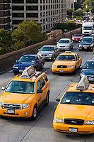 traffic on brooklyn bridge in New York City October 2008