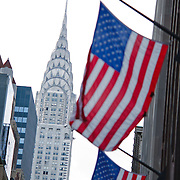 American Flags on Fifth avenue with the Chrysler Building.
