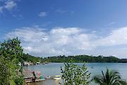 Small village at the shore. Colon Island, Bocas del Toro archipelago, Panama, Caribbean,  Central America.