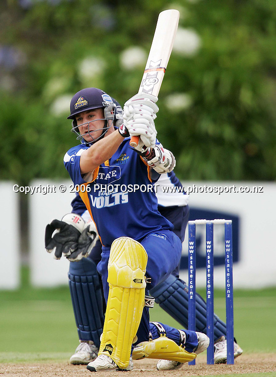 Otago batsman Nathan McCullum plays a cover drive during the State Shield match between the State Auckland Aces and the State Otago Volts held at the Eden Park Outer Oval in Auckland, New Zealand on Tuesday, 16 January 2007. Photo: Tim Hales/PHOTOSPORT