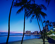 Twilight, Waikiki, Oahu, Hawaii, USA<br />