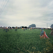 In a field in Auchterarder, near Gleneagles.  Demonstrators  take down the first fence and rush into a field to get to the perimeter fence surrounding the Gleneagles Hotel, housing the G8 leaders+.  Riot police on horse backs and aided by the Royal Air Force succesfully manages to stem the flow.