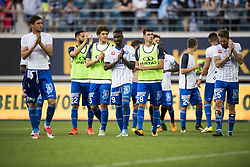 August 27, 2017 - Gent, BELGIUM - Gent's players pictured after the Jupiler Pro League match between KAA Gent and RSC Anderlecht, in Gent, Sunday 27 August 2017, on the fifth day of the Jupiler Pro League, the Belgian soccer championship season 2017-2018. BELGA PHOTO JASPER JACOBS (Credit Image: © Jasper Jacobs/Belga via ZUMA Press)