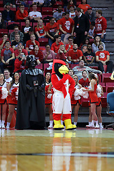 10 December 2016:  Reggie Redbird and Darth Vader during an NCAA  mens basketball game between the UT Martin Skyhawks and the Illinois State Redbirds in a non-conference game at Redbird Arena, Normal IL