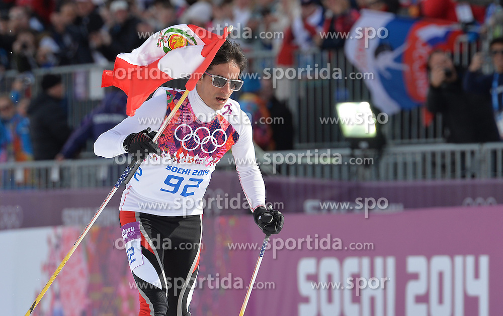 14.02.2014, Laura Cross-country Ski &amp; Biathlon Center, Krasnaya Polyana, RUS, Sochi, 2014, Herren Langlauf 15km, Classic, im Bild ROBERTO CARCELEN PERU // ROBERTO CARCELEN PERU during Mens Cross Country 15km Classic Race of the Olympic Winter Games Sochi 2014 at the Laura Cross-country Ski &amp; Biathlon Center in Krasnaya Polyana, Russia on 2014/02/14. EXPA Pictures &copy; 2014, PhotoCredit: EXPA/ Newspix/ TOMASZ JAGODZINSKI<br /> <br /> *****ATTENTION - for AUT, SLO, CRO, SRB, BIH, MAZ, TUR, SUI, SWE only*****