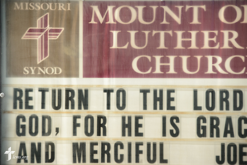 The exterior sign of Mount Olive Lutheran Church, on Wednesday, March 2, 2016, in Loveland, Colo. LCMS Communications/Erik M. Lunsford