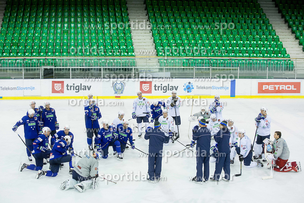 Matjaz Kopitar, head coach with players during practice session of Slovenian National Ice Hockey Team prior to the IIHF World Championship in Ostrava (CZE), on April 21, 2015 in Hala Tivoli, Ljubljana, Slovenia. Photo by Vid Ponikvar / Sportida