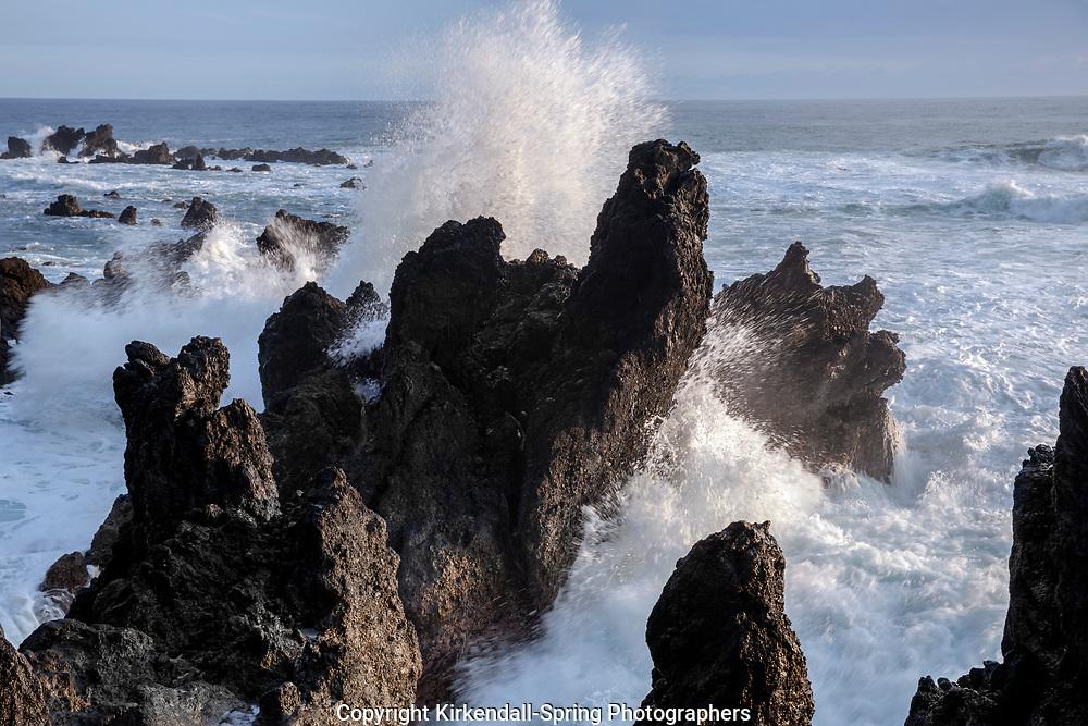 HI00387-00...HAWAI'I - Rocky coastline at Laupahoehoe Point Park along the Hamakua Coast on the island of Hawai'i.