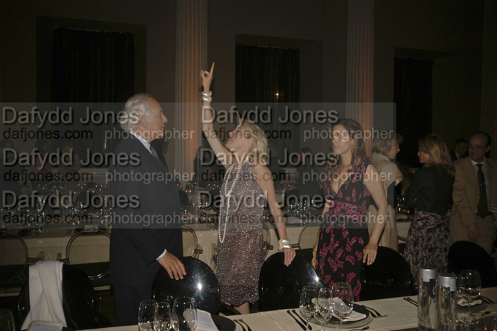 Sir Evelyn and Lady de Rothschild and Jessica de Rothschild.  VIP opening of Bill Viola exhibition Love/Death: The Tristan project. Haunch of Venison, St Olave's College, Tooley St. London and Dinner afterwards at Banqueting House. Whitehall. 19 June 2006. ONE TIME USE ONLY - DO NOT ARCHIVE  © Copyright Photograph by Dafydd Jones 66 Stockwell Park Rd. London SW9 0DA Tel 020 7733 0108 www.dafjones.com