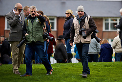 LIVERPOOL, ENGLAND - Thursday, April 6, 2017: Liverpool Echo photographers Andy Teebay and Colin Lane, during The Opening Day on Day One of the Aintree Grand National Festival 2017 at Aintree Racecourse. (Pic by David Rawcliffe/Propaganda)