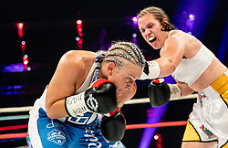 Ema Kozin of Slovenia (R) in action against Maria Lindberg of Sweden during their WBC, IBO, IBA, WBF and WIBA supermiddleweight World Championship titles fight, on October 6, 2019 in Arena Stozice, Ljubljana, Slovenia. Photo by Vid Ponikvar / Sportida