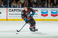 KELOWNA, CANADA - SEPTEMBER 22: Lassi Thomson #2 of the Kelowna Rockets skates with the puck against the Kamloops Blazers on September 22, 2018 at Prospera Place in Kelowna, British Columbia, Canada.  (Photo by Marissa Baecker/Shoot the Breeze)  *** Local Caption ***