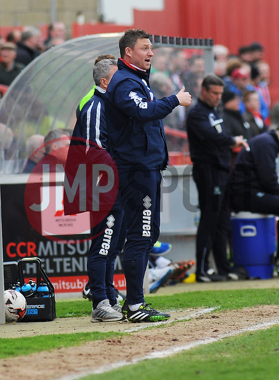 Cheltenham Town Assistant Manager, Steve Elliott gives orders from the side line - Photo mandatory by-line: Nizaam Jones - Mobile: 07966 386802 - 28/03/2015 - SPORT - Football - Cheltenham - Whaddon Road - Cheltenham Town v Plymouth Argyle - Sky Bet League Two