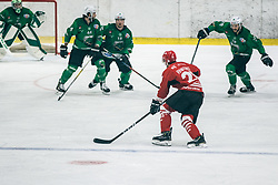 Jaka Ankerst of HDD Jesenice vs MUŠIČ Aleš of HDD Olimpija during 500th derbi between HK SZ Olimpija Ljubljana vs HDD SIJ Acroni Jesenice  - AHL 2019/20, on the 26th of  Oktober, Ljubljana, Slovenia. Photo by Matic Ritonja / Sportida