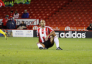 Chris O'Grady didn't last long on his return to Sheffield during the Sky Bet League 1 match between Sheffield Utd and Milton Keynes Dons at Bramall Lane, Sheffield, England on 2 December 2014.