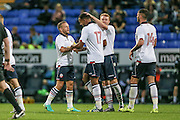 The Bolton players celebrate Jay Spearing's DM (c) (Bolton Wanderers) goal to equalise. Assist by Liam Trotter (Bolton Wanderers). 1-1 during the Pre-Season Friendly match between Bolton Wanderers and Burnley at the Macron Stadium, Bolton, England on 26 July 2016. Photo by Mark P Doherty.