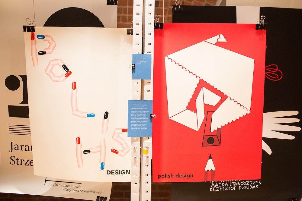 Posters by Jakub Jezierski (left) and Dawid Ryski (right) in the exhibit of Polish graphic design sponsored by Culture.pl, an online magazine of Polish culture sponsored by the Adam Mikiewicz Institute. The pun in the poster on the left works in English, but not in Polish.