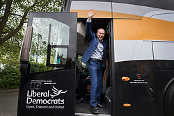 © Licensed to London News Pictures. 01/05/2017. London, UK. The Liberal Democrat party leader Tim Farron waves from the battle bus as a day of campaigning begins in Kingston-Upon-Thames. The general election is on June 8th 2017. Photo credit: Peter Macdiarmid/LNP