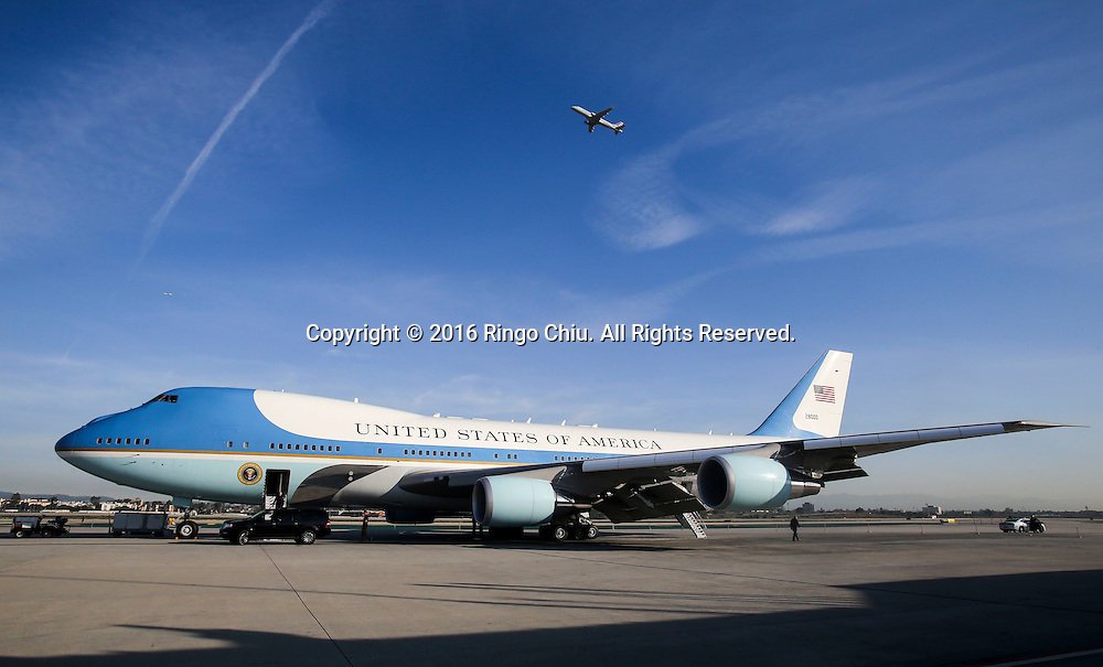 Air Force One sits on the tarmac before President Barack Obama boarding at Los Angeles International Airport in Los Angeles, Friday, Feb 12, 2016.(Photo by Ringo Chiu/PHOTOFORMULA.com)<br /> <br /> Usage Notes: This content is intended for editorial use only. For other uses, additional clearances may be required.