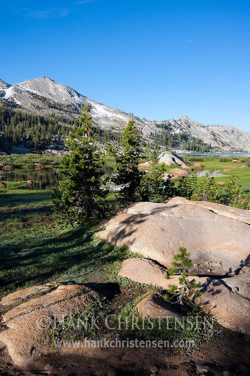 Granite slab and Emigrant Lake, Emigrant Wilderness, California
