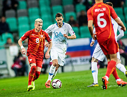 Miha Zajc of Slovenia vs Egzijan Alioski of Macedonia and Visar Musliu of Macedonia during football match between National teams of Slovenia and North Macedonia in Group G of UEFA Euro 2020 qualifications, on March 24, 2019 in SRC Stozice, Ljubljana, Slovenia.  Photo by Matic Ritonja / Sportida