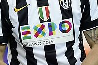 Juventus TShirt with  logo Expo 2015 <br /> Torino 18-04-2015 Juventus Stadium Football Calcio Serie A 2014/2015 Juventus - Lazio  . Foto Image Sport / Insidefoto