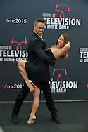 "Christian Millette and Bulgarian dancer Denitsa Ikonomova pose at a photocall for the TV series 'Dance with star"" during the 55th Monte Carlo TV Festival on June 14, 2015 in Monte-Carlo, Monaco"