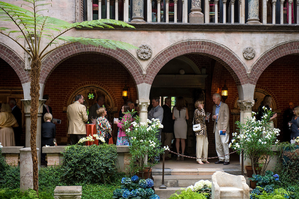 June 4, 2014, Boston, MA:<br /> Guests attend a cocktail reception during the Friends of Fenway Court Patron event at the Isabella Stewart Gardner Museum in Boston, Massachusetts Wednesday, June 4, 2014.<br /> (Photo by Billie Weiss/Isabella Stewart Gardner Museum)