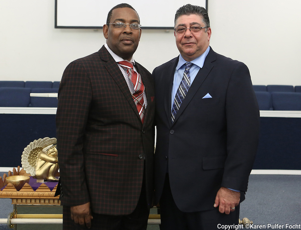 Alonso Esposito, a former Boston mobster-turned pastor,  at Faith Keepers Ministry in Memphis on Sunday, June 26th, 2016. He is with Bishop Gerald Coleman.