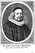 Jean Caspar Bauhin (1606-1659) Swiss physician and botanist; professor of botany, Basle: physician in ordinary to Louis XIV 1659. Copperplate engraving