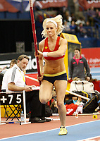 Photo: Richard Lane/Richard Lane Photography. Aviva Grand Prix. 20/02/2010. Norway's Cathrine Larsasen on her way to breaking her national indoor pole vault record.
