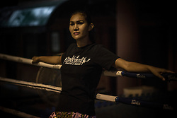 Kickboxer celebrity &quot;Khun Thum&quot;, Bangkok, Thailand.<br /> <br /> Katheoys are biological men who have been born with distinctifly female hearts and minds. Some choose to have their anatomy 'corrected' whilst others are content to dress in womens clothing or simply give free reign to their effeminate mannerism.