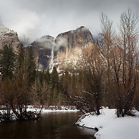 Yosemite Falls in winter is amazing. It took three tries this winter but we finally succeeded at finding snow in Yosemite. The challenge is to arrive right after a winter storm is breaking up creating amazing fog and layers of clouds and light. We pulled up in the meadows as I rushed to the Merced River attempting to get this iconic shot of Yosemite Falls. I could stay here for hours watching the light played on the granite cliffs surrounding the Yosemite Falls. Yosemite is just a completely different park in the winter.